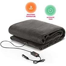 Zento Deals Electric Heated Car 12V Blanket- Polar Fleece Material Blanket - Cold Days and Nights Road Trip, Home and Camping Upgraded Version for 2019, Safer Nonflammable Wiring and Fabric