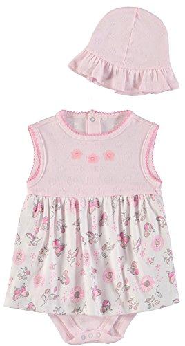 (Rene Rofe Baby Baby Girls' Rear Snap Sundress Set With Matching Sunhat, Pink Butterflies, 6-9)