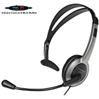 Panasonic Hands-Free Headset with Foldable Comfort Fit Lightweight Headband & Flexible Optimum Voice Microphone with Volume Control & Mute Switch For The Panasonic KX-TG7872S KX-TG7873S KX-TG7874S KX-TG7875S Cordless Telephone Handset