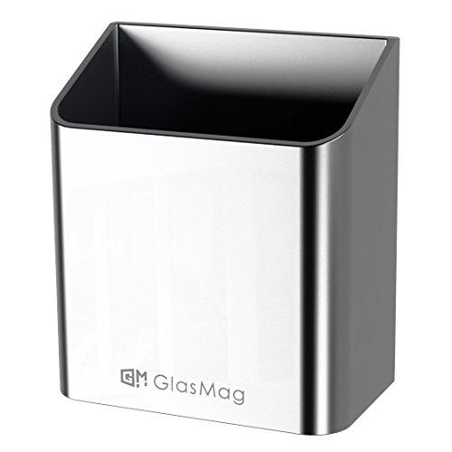 GlasMag Platinum Magnetic Marker Holder for Glass Whiteboards. Holds 8 Dry-Erase Markers. Satin Anodized Aluminum Finish. Powerful Neodymium Magnets.