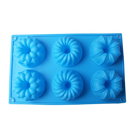 Delidge 2 Pack 6-Cavity Silicone Fancy Bundt Cake, Muffin, Cupcake, Brownie and Cornbread Mold (1)6-Cavity Silicone Fancy Bundt Cake Mold Color Random