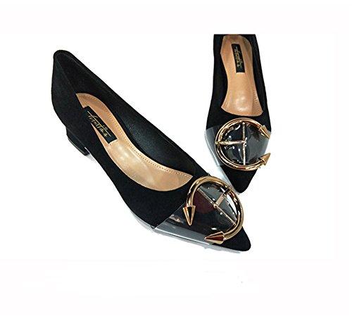 zapatos Charol con Tacones ElegantesLuz de Cerrado fashion Mujer satén bajos profesionales Clásicas Tacones de Altos de de Tacones Sexy Ruanlei black Altos mujeres OnW7RR
