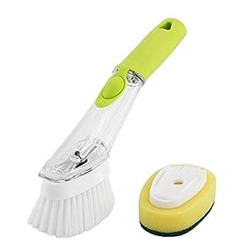 Jabón Dispensador Cocina Cepillo de limpieza con mango largo dispensador – Cepillo para lavar platos de