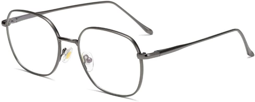 Gafas de lectura antiazul hombres y mujeres espejo plano de metal antirradiación teléfono móvil protección ocular-pistola ceniza