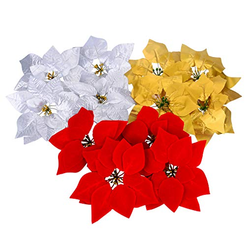 30 Pieces Christmas Flowers Artificial Red Gold Silver Poinsettia for Christmas Tree Basket Wreaths Ornaments,Dia 20 cm / 8 ()