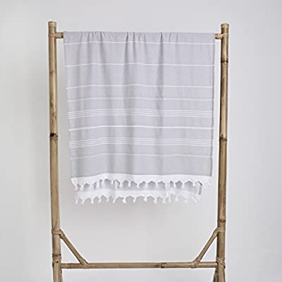 Loom by Design,One side Terry Turkish Towel 100% Cotton,Beach Towel,Spa Towel,Throw.Multipurpose use for Beach,Gym,Travelling,Yoga.Quick drying,Super Absorbent,Ultra Compact,Lightweight,Stylish,Stripe - This fouta is designed for everyday versatility.It is created from an exclusively selected Turkish cotton and woven by local artisans, made in Turkey. WHY FOUTA ? Practical, functional, versatile and stylish. Light weight and compact size. Super absorbent and fast drying Takes up little space, perfect for traveling. In laundry; energy and resource efficient - bathroom-linens, bathroom, bath-towels - 411fcm61oUL. SS400  -