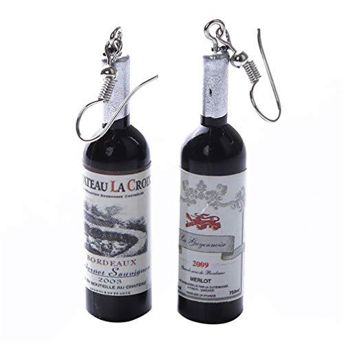 Myhouse Creative Wine Bottle Pendant Hook Earrings Glass Dangle for Women Girls Charm Jewelry Gift, Black