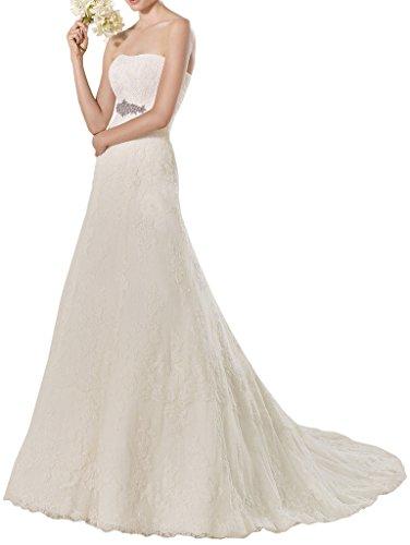 La_mia Braut Hochwertig Elfenbein Spitze Hochzeitskleider Brautkleider brautmode Schmaler Schnitt Lang Schleppe