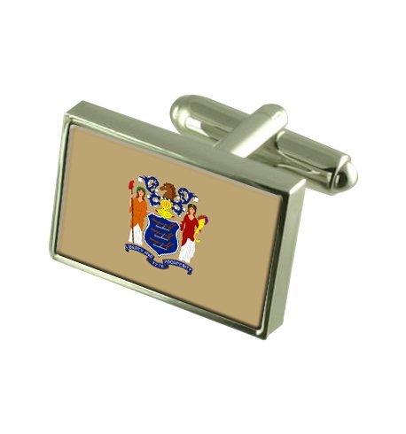 New Jersey Boutons de manchette drapeau avec select pochette cadeaux
