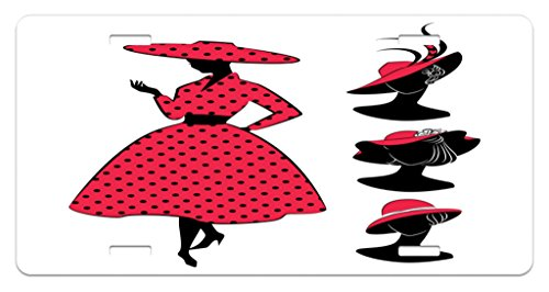 Front Dotted Dress (Lunarable Vintage Modern License Plate, Silhouette of a Woman with Sixties Style Polka Dotted Dress and Hat, High Gloss Aluminum Novelty Plate, 5.88 L X 11.88 W Inches, Pink and Black)