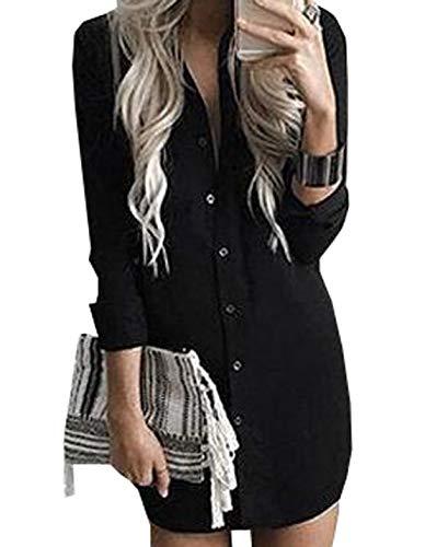 JackenLOVE Tops Printemps Noir Robes Blouses Automne Mini Hauts Casual Manches Shirts Tunique Chemises Femmes Long Chemisiers Longues Tee Mode Irrgulier rrpd6wHq