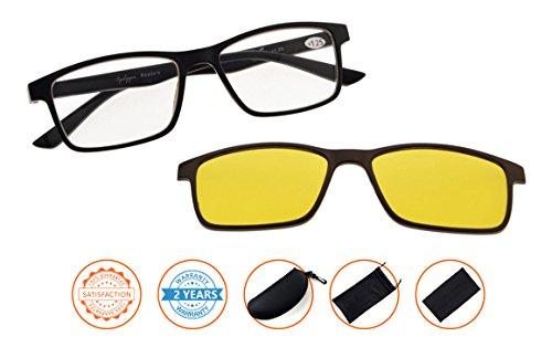 Reading Glasses With Blue Light Blocking,Anti Eye Strain,UV Protection,Polarized Photochromic Lens Sun Clip(Black-Brown) - Glasses Whole Foods Reading