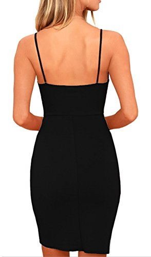 Tight Women's Neck for Women Deep Bodycon Sleeveless Straps FASHION Party Sexy SASA Slim Black V Elegant Dress Spaghetti 5qOZ1F