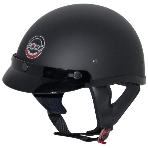 (Core Cruiser Shorty Half Helmet (Flat Black, Large))