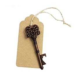 5pcs Wedding Favors Rustic Vintage Skeleton Key Bottle Opener with Escort Tag Card and Twine, party favors for adults by…