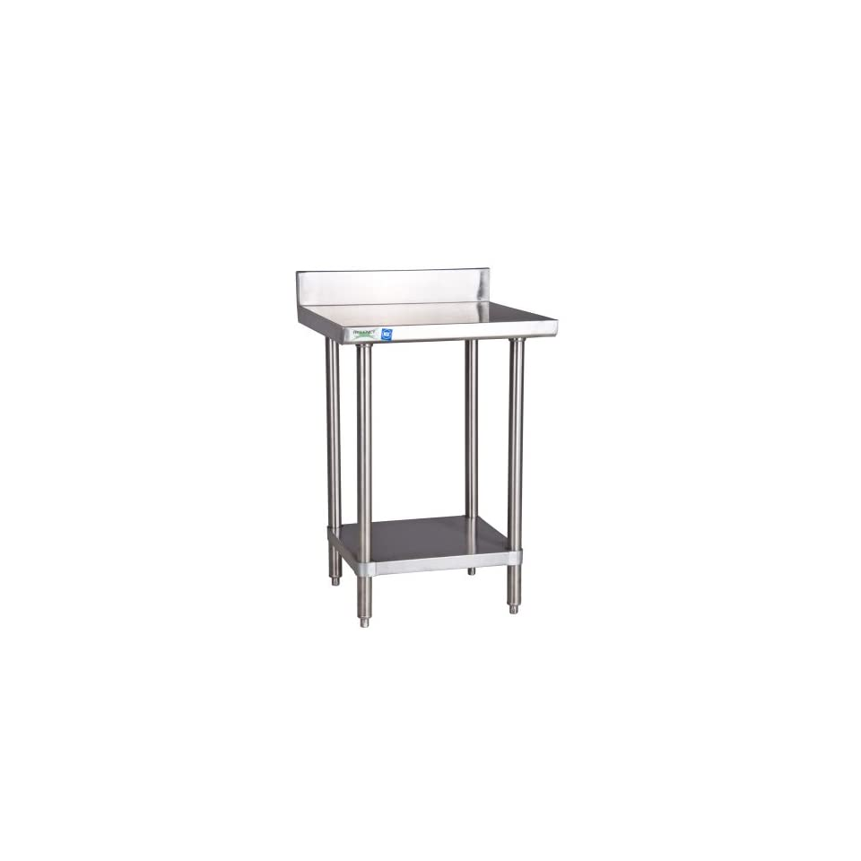 """Regency 16 Gauge All Stainless Steel Commercial Work Table   24"""" x 24"""" with Undershelf and 4"""" Backsp   Utility Tables"""