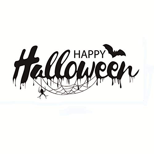 Home Find Happy Halloween Art Font Design Quote Decals Creepy Spiders Black Cobweb and Bats Wall Stickers DIY Vinyl Art Murals for Rooms Halloween Party 22.4 inches x 9.8 inches]()