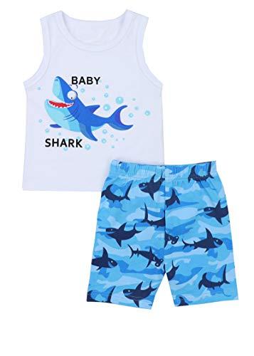 (Baby Boy Clothes Baby Shark Doo Doo Doo Print Summer Cotton Sleeveless Outfits Set Tops + Short Pants 0-6 Months)