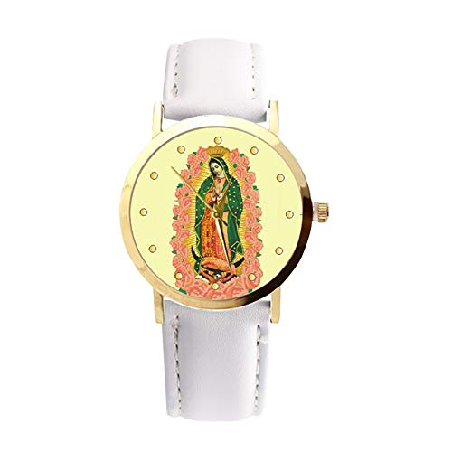 lightclub Christian Virgin Mary Flower Round Dial Faux Leather Strap Women Wristwatch - White