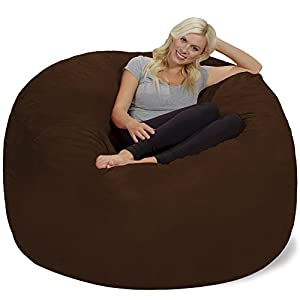Chill Sack Bean Bag Chair: Giant 6' Memory Foam Furniture Bean Bag - Big Sofa with Soft Micro Fiber Cover - Chocolate