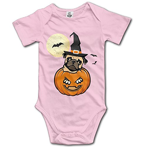Halloween Pug Dog Funny Toddler Baby Outfit Creeper Short Sleeves Jumpsuits