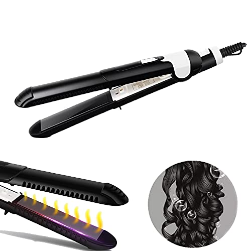 Hair Straightener Ceramic Tourmaline Ionic Flat Iron Curler with Adjustable Temp for All Hairstyles Instant Heating Gift for Girls Women (Curler Straightener 2 in 1)