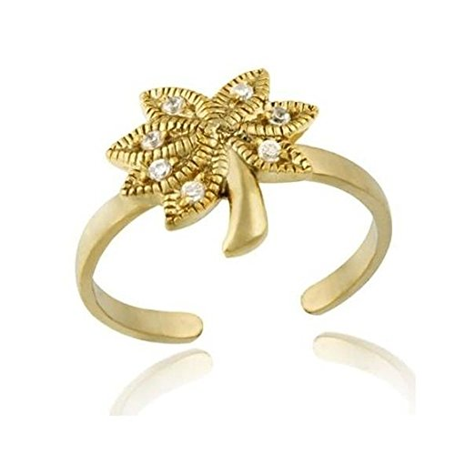 Sterling Silver Inspired Palm Tree (Gold Tone Over Sterling Silver Designer-Inspired Cubic Zirconia Palm Tree Toe Ring)