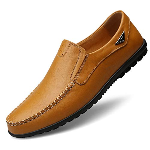 - Genuine Leather Black Men Flats Breathable Casual Loafers Comfortable Plus Size Driving Shoes,Yellow Brown,13