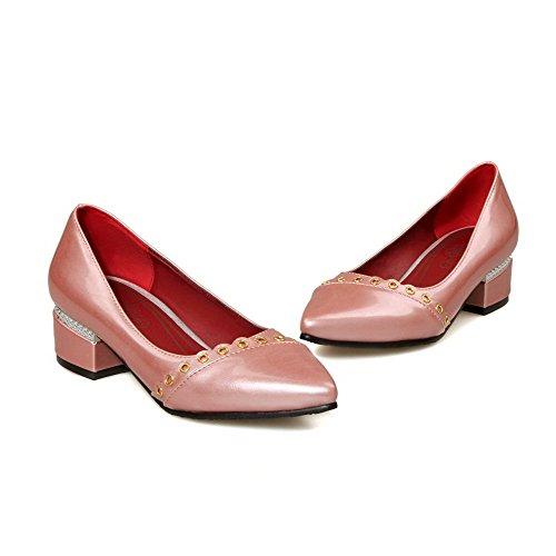 AgooLar Damen Weiches Material Niedriger Absatz Ziehen auf Eingelegt Pumps Schuhe Pink