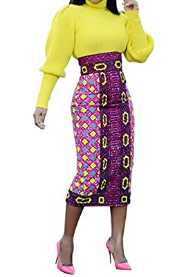 Chellysun Women African Printed Skirt Knee Length Midi Pencil Skirt Slim Fit Skirt with Back Slit