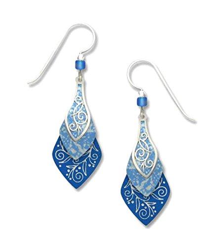 Adajio by Sienna Sky Lake Blue 3-part Necktie Sterling Silver Earrings 7445