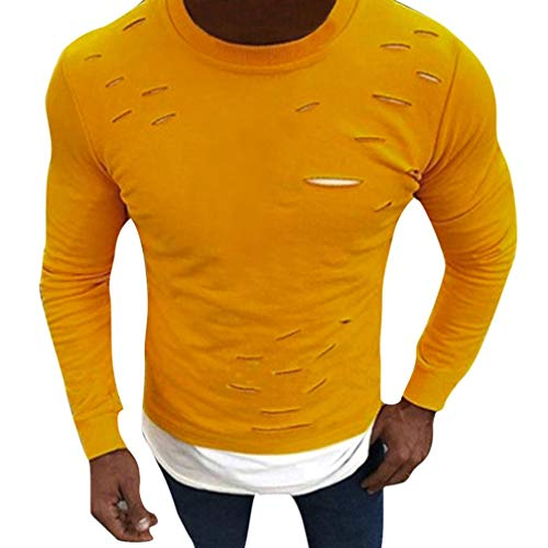 Fish T-shirt Ringer Kids (kaifongfu Long Sleeve T-Shirt,Men O-Neck Muscle Tops Fake Two Hole Shirt Pieces Slim Shirt Blouses(Yellow,S))