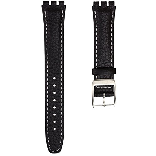 Geckota Genuine Leather Watch Band Deisgned for Swatch Watch, Black with White Stitch, 17mm