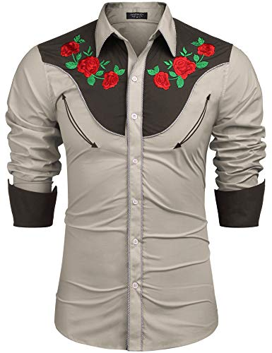 (COOFANDY Men's Embroidered Rose Design Western Shirt Long Sleeve Button Down Shirt(Khaki,S))