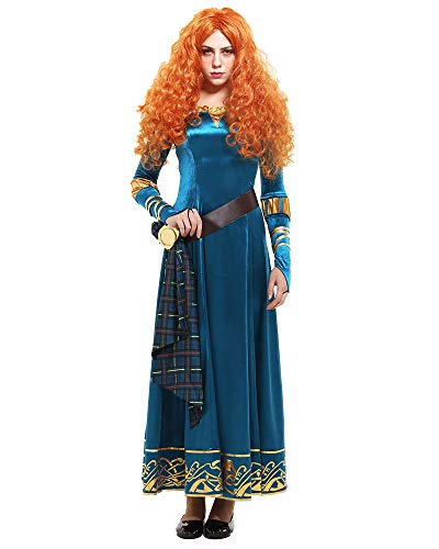 miccostumes Women's Princess Merida Adult Dress Cosplay Costume (XL, Blue) -