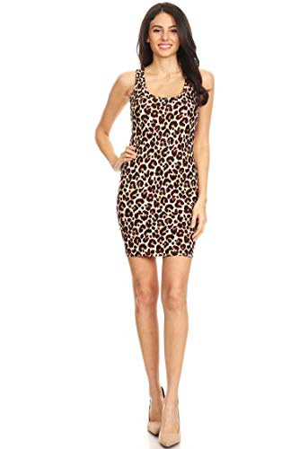 Pattern Print Casual Comfy Bodycon Sleeveless Racerback Short Tank Dress Animal Brown M ()