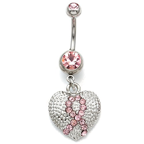 Soulbreezecollection Pink Ribbon Breast Cancer Awareness Heart Belly Button Navel Ring Body 14 Gauge