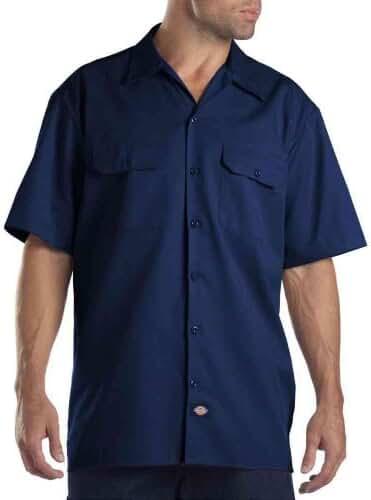Dickies Short Sleeve Work Shirt, Dark Navy, 2X- Tall
