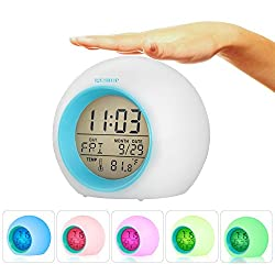 I2USHOP Alarm Clock for Kids Bedroom, Wake Up Light Digital Clock with Indoor Temperature & Calendar & 6 Natural Sound & 7 Colors Changing Light (Blue)