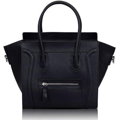 ab3d6a8dd65c Women s Ladies Designer Tote Grab Smile Faux Leather Celebrity Shoulder  Bags Handbags (Black Smile)  Amazon.co.uk  Shoes   Bags