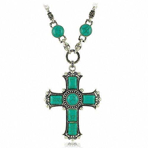 Kalapure Silver Tone Vintage Jesus Cross Green Turquoise Necklace Jewelry
