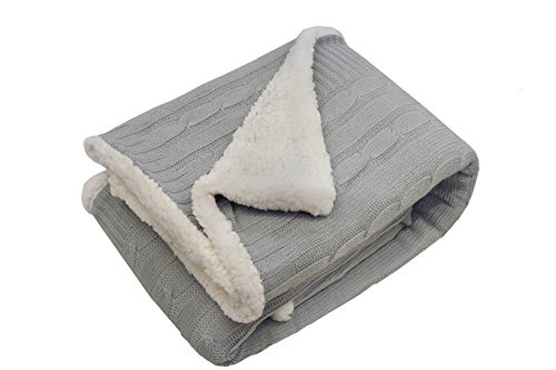 Price comparison product image POSH HOME Sweater Cable Knit Throw Blanket with Ultra Soft Sherpa Lining - Reversible - 50x60 - Gray