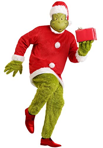 The Grinch Santa Deluxe Mens Jumpsuit with Mask Costume Large/X-Large Red for $<!--$149.99-->