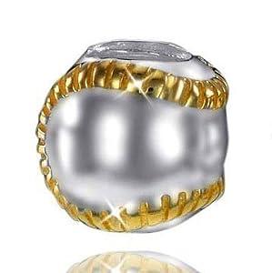 MATERIA 925 Silber Beads Tennisball / Tennis Sport Element - 14K vergoldet...