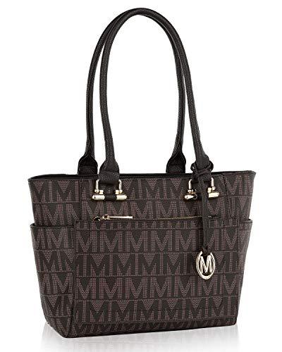 MKF Shoulder Handbag for Women: Vegan Leather Satchel-Tote Bag, Top-Handle Purse, Ladies Pocketbook Chocolate