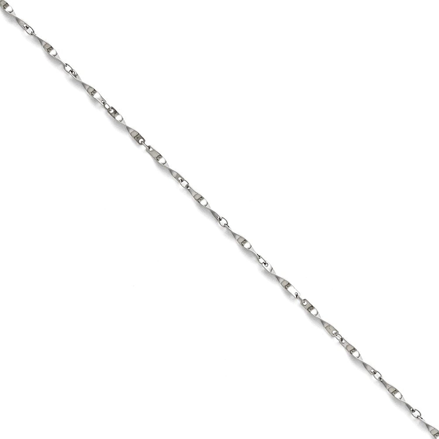 Stainless Steel Polished Fancy Link Spiral Chain Anklet 9.5 Inch