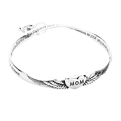 Mom Angel Heart Charm Engraved Bangle Bracelet