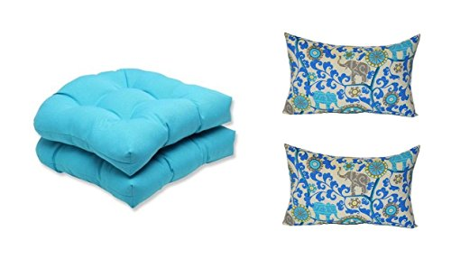 Set of 2 - Indoor / Outdoor Cancun Blue Tufted U-shape Cushions for Wicker Chair Seats + 2 Free Sapphire Blue, Turquoise, Green, Gray Bohemian Elephant Lumbar Pillows