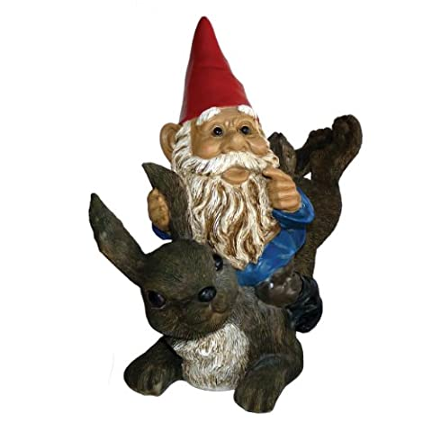 Michael Carr Designs 80037 Garrold Gnome on Rabbit Outdoor Statue (Gnome With Hats)