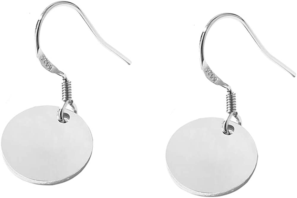 Round Disc Circle Plate Minimalist Fishhook S925 Sterling Silver Elegant Dangle Drop Earrings Chic Geometric Dangling Hanging Fashion Lightweight Simple Modern Statement Jewelry Gifts for Best Friend